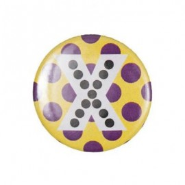 "Fantasy Pin-on button badge Alphabet ""letter X"" - yellow"