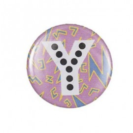 "Fantasy Pin-on button badge Alphabet ""letter Y"" - pink"
