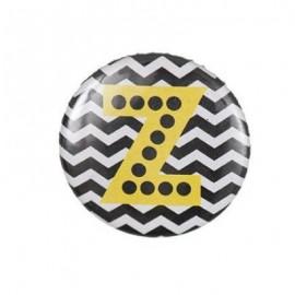 "Fantasy Pin-on button badge Alphabet ""letter Z"" - black"