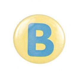 "Two-tone Pin-on button badge Alphabet ""letter B"" - yellow"