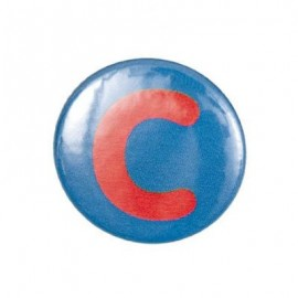 "Two-tone Pin-on button badge Alphabet ""letter C"" - blue"