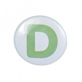 "Two-tone Pin-on button badge Alphabet ""letter D"" - sky blue"