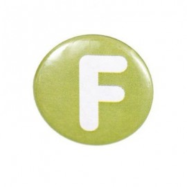 "Two-tone Pin-on button badge Alphabet ""letter F"" - light green"
