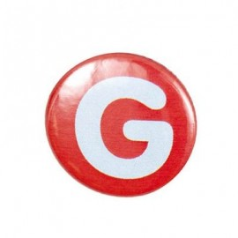 "Two-tone Pin-on button badge Alphabet ""letter G"" - orange"