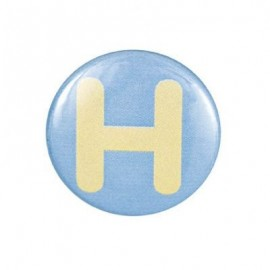 "Two-tone Pin-on button badge Alphabet ""letter H"" - sky blue"