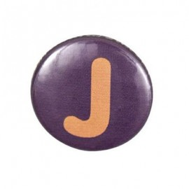 "Two-tone Pin-on button badge Alphabet ""letter J"" - purple"