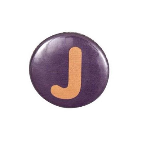 "Two-tone Pin-on button badge Alphabet ""letter J"" - purple"