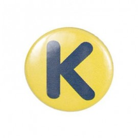 "Two-tone Pin-on button badge Alphabet ""letter K"" - light green"