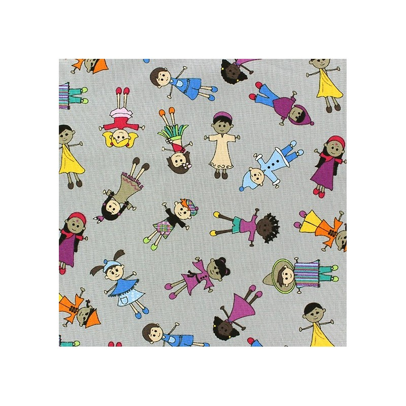 Tissus pas cher 100 coton tissu coton children of the for Grey childrens fabric