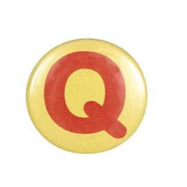 "Two-tone Pin-on button badge Alphabet ""letter Q"" - yellow"