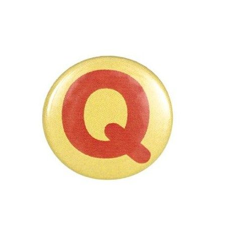 """Two-tone Pin-on button badge Alphabet """"letter Q"""" - yellow"""