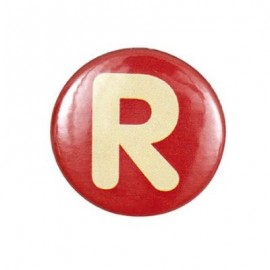 "Two-tone Pin-on button badge Alphabet ""letter R"" - red"