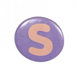 "Two-tone Pin-on button badge Alphabet ""letter S"" - purple"