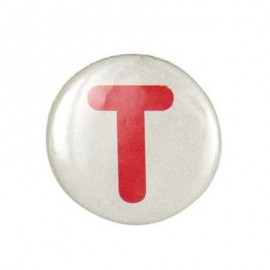 "Two-tone Pin-on button badge Alphabet ""letter T"" - beige"