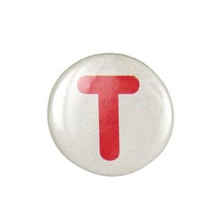"""Two-tone Pin-on button badge Alphabet """"letter T"""" - beige"""