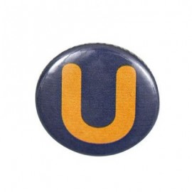 "Two-tone Pin-on button badge Alphabet ""letter U"" - grey"