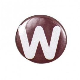 "Two-tone Pin-on button badge Alphabet ""letter W"" - brown"