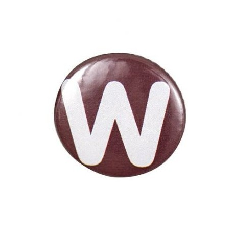 """Two-tone Pin-on button badge Alphabet """"letter W"""" - brown"""