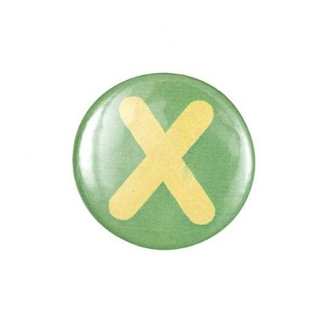 "Two-tone Pin-on button badge Alphabet ""letter X"" - green"