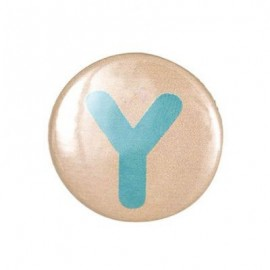 "Two-tone Pin-on button badge Alphabet ""letter Y"" - beige"