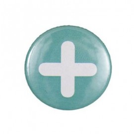 "Pin-on button badge""+"" symbol - turquoise"