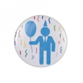 "Pin-on button badge ""Male party"" - blue"