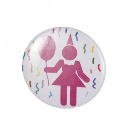 "Pin-on button badge ""Female party"" - pink"
