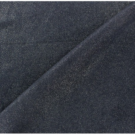 Sequined Suede Fabric - Navy x 10cm