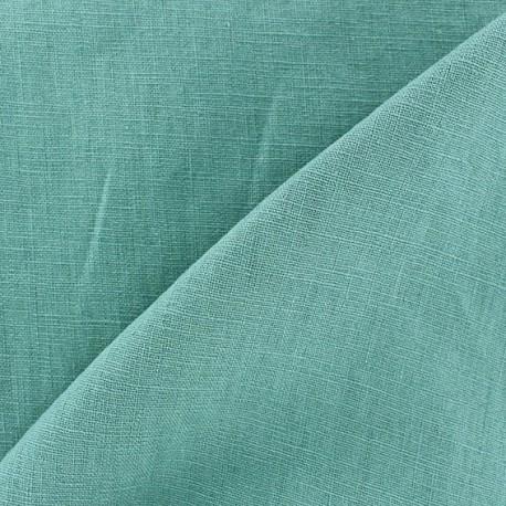 Tissu lin biologique bleu-vert x 10cm