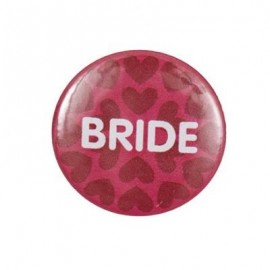 "Pin-on button badge ""Bride"" - pink"