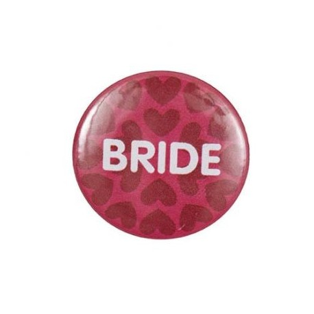 """Pin-on button badge """"Bride"""" - pink"""