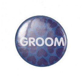 "Pin-on button badge ""Groom"" - blue"