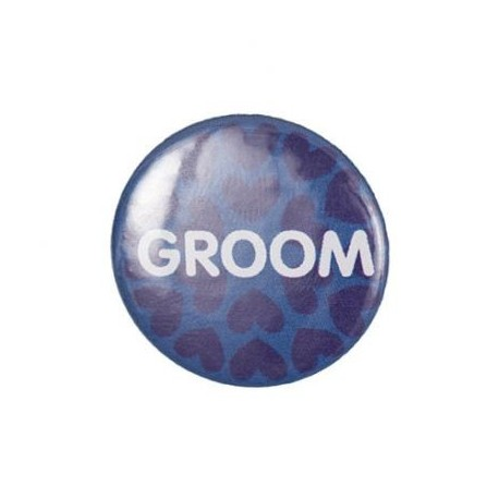 """Pin-on button badge """"Groom"""" - blue"""