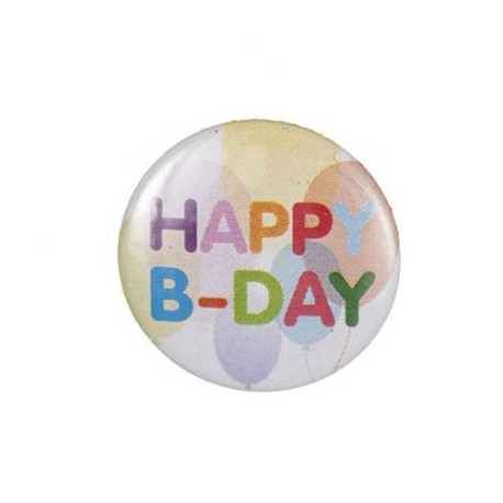 "Badge rond ""happy b-day"""