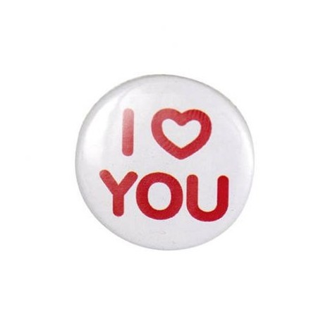 """Badge rond """"i love you"""""""