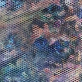 Tissu Résille imprimée bleue x 10cm