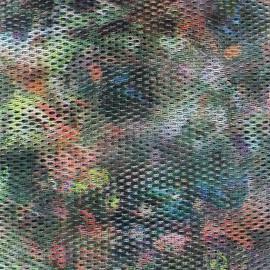 Tissu Résille imprimée verte x 10cm