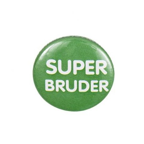 "Pin-on button badge ""Super Bruder"" (super brother) - green"