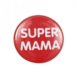 "Pin-on button badge ""Super Mama"" (super mom) - orange"