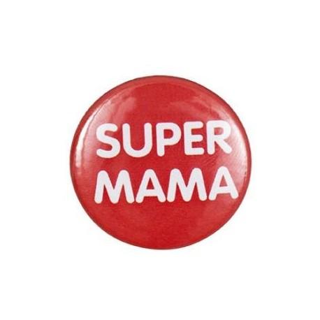 """Pin-on button badge """"Super Mama"""" (super mom) - orange"""