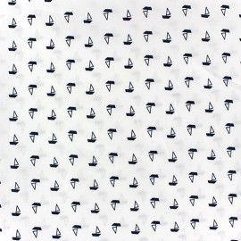 Tissu coton Sailboat fond blanc x 10cm