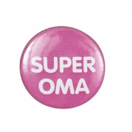 "Pin-on button badge ""Super Oma"" (super grandma) - pink"