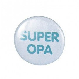 "Pin-on button badge ""Super Opa"" (super grandpa) - sky blue"