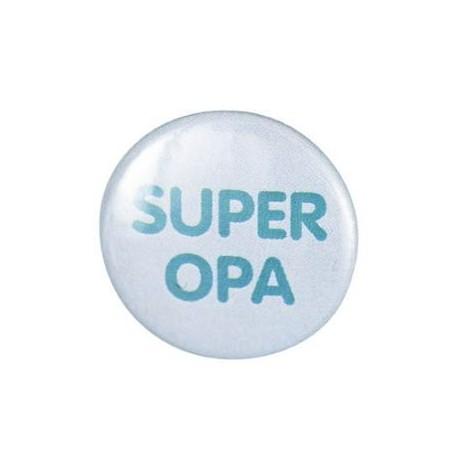 """Pin-on button badge """"Super Opa"""" (super grandpa) - sky blue"""