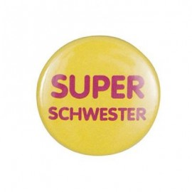 "Pin-on button badge ""Super Schwester"" (super sister) - yellow"