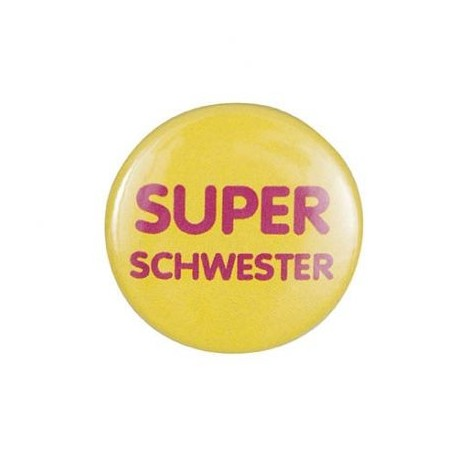 """Pin-on button badge """"Super Schwester"""" (super sister) - yellow"""