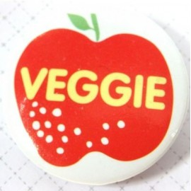 "Pin-on button badge ""Veggie"" (vegetarian) - red"