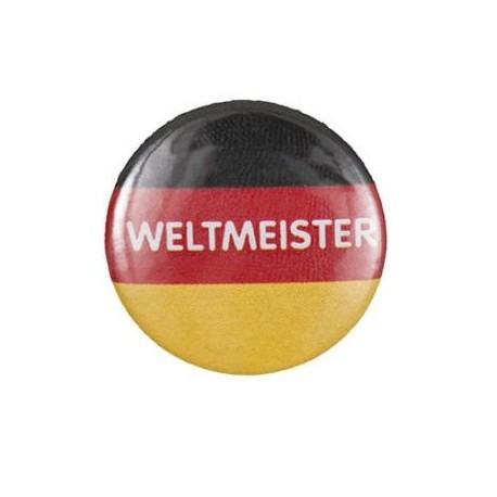 "Pin-on button badge ""Weltmeister"" (World champion) - multicolored"