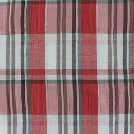Tissu froissé à carreaux rouge x 10cm