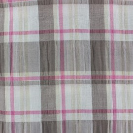 Checkered Crumpled Fabric - Pink x 10cm